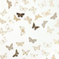Tapet Butterfly White/Brass