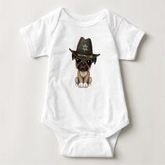 #cute #baby #bodysuits - #Cute Pug Puppy Dog Sheriff Baby Bodysuit