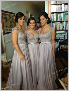 Custom Made A line Gray Long Floor Length Backless Lace Prom Dresses, Lace Bridesmaid Dresses, Wedding Party Dresses, Dress for wedding