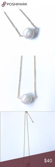 """LOWEST PRICE! IRIDESCENT FRESHWATER PEARL NECKLACE Iridescent freshwater pearl with 14K gold plated chain and lobster clasp. Measures 18in plus 2in extender. Pearl is approximately 3/4in wide, 1/2in thick. These are authentic freshwater pearls so they are not perfectly round. Slight shimmer with hints of pink and blue in the light. Individually wrapped in an eco-friendly box. 🌿""""Bondhu believes in cruelty-free, fair trade apparel. We strive to provide you with eco-friendly, conscious…"""