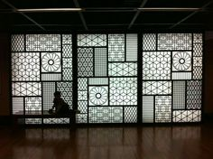 When a wall don`t need a wallpaper Sejong Cultural Center in Seoul. Wall features traditional decorative motifs that appear in textiles and architecture. Verre Design, Interior Architecture, Interior Design, Landscape Architecture, Decorative Screens, Restaurant Design, Restaurant Plan, House Design, Jalli Design