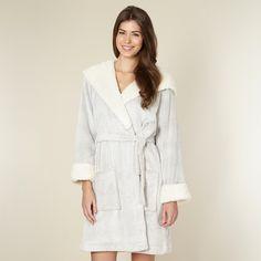 RJR.John Rocha Designer pale grey fluffy hooded dressing gown afdb0a3fe