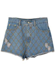 #SheInside Light Blue Plaid Ripped Fringe Denim Shorts