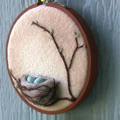 Spring Bird's Nest with Eggs Mixed Media by FoxtailCreekStudio
