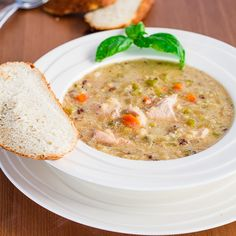 Crockpot Wild Rice, Quinoa and Chicken Soup - healthy, delicious and nutritious. Only 186 calories per serving!