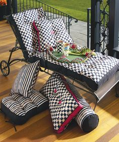Outdoor cushions in Courtly Stripes and Checks!