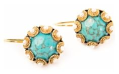 """""""Valentine Rouge Jewelry 'Zinnia' Turquoise Stud Earrings"""" by taught-to-fly19 on Polyvore featuring moda"""