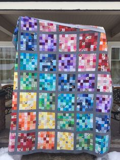 A while back, I saw a rainbow quilt made out of scraps on Crazy Mom Quilts' blog, here. My blue drawer was getting too full, where I...