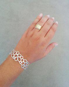 Silver Cuff Bracelet, Sterling Silver Cuff, Silver Bracelet, Circle Braclete, Wedding Jewellery, Bridal Jewelry, Gift For Her, By Hila Assa  Unique Silver Circle Cuff Bracelet Made of Silver plating brass base, matte finish.  Dimensions: Diameter: 2.5 inch 6 cm Width: 1.18 inch 3 cm Bracelet Total length 7.25inch / 18.5cm Fits wrist measurement 6.3inch/16cm to 7.1inch/18cm