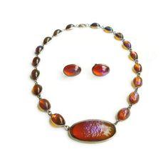 Art-Deco-Sterling-Silver-Dragons-Breath-Opal-Glass-Necklace-Earrings-Jewelry-Set