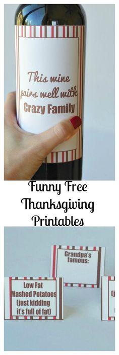 Funny Free Thanksgiving Printables