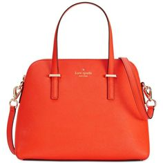 kate spade new york Cedar Street Maise Convertible Crossbody ($223) ❤ liked on Polyvore featuring bags, handbags, shoulder bags, red leather purse, leather handbags, red shoulder bag, red leather handbag and orange leather handbag