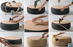 Sitzmöbel Selber bauen-Alte Autoreifen-verwenden