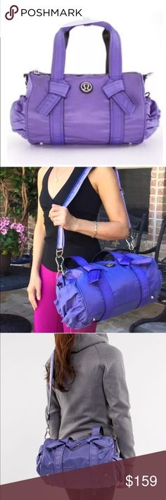 """Lululemon DTB mini duffel bag purple tote travel As Sheree would say, """"OMG! Drop The Balenciaga!"""" • So small, yet so functional; you'll trade your designer favorite for this daily staple • Exterior side pockets store frequently used necessesities • I'm Adjustable, removable shoulder strap • Interior neoprene pocket fits a standard mobile touch screen device • Interior zip wet/dry pocket with removable shoe bag • Water resistant fabric • Tested to hold 50 lbs/22 kg • 12.75""""x 8.75""""x 6.25""""…"""