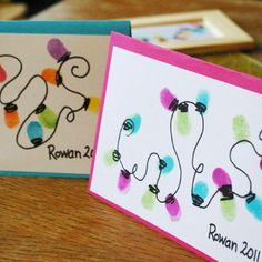 Great Christmas Card idea; personalized by kids thumb prints.