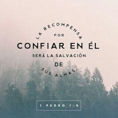 Ustedes aman a Jesucristo a pesar de que nunca lo han visto. Aunque ahora no lo ven, confían en él y se gozan con una alegría gloriosa e indescriptible. La recompensa por confiar en él será la salvación de sus almas. 1 Pedro 1:8-9
