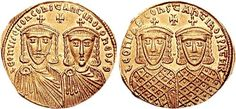 The emperors of the Isaurian Dynasty on a gold solidus from ca. 775–780. Leo IV with his son Constantine VI on the obverse, Leo III with his son Constantine V on the reverse
