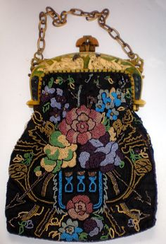 beaded purse with celluloid frame