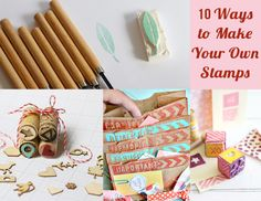 Stamps Main Pic. 10 Ways to Make Your Own Stamps & collection of projects to use them