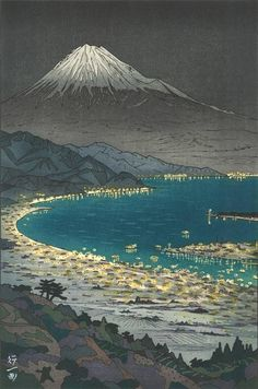 "huariqueje: "" The view of Mt.Fuji from Nihondaira (Night View) - Okada Koichi ,1958 Japanese,b.1907- Colored Woodbloc, 14 ¼ x 9 ½ in. """
