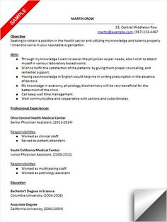 physician assistant resume sample dream careers pinterest format option