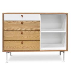 A stylish and functional addition to your space, Cosmo MDF Sideboard with 3 Drawers - White meets all of your storage needs with chic charm. Buffet Cabinet, Sideboard Buffet, Sideboards For Sale, Wood Texture, Leather Handle, Your Space, Contemporary Design, Drawers, Shelves