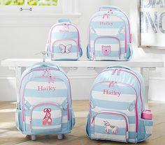 Fairfax Aqua/White Stripe Backpacks   Pottery Barn Kids
