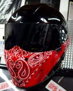 Custom Painted Red Bandana on Black Base Helmet
