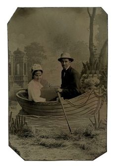 Tintype Young Couple in Studio Prop Rowboat Oar Nature Background Hat Fashions | eBay