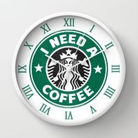 Wall Clocks featuring I need a coffee! by John Medbury (LAZY J Studios)