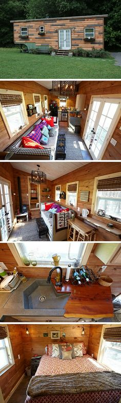 The Nomad Nest: a 276 sq ft Tiny House by Wind River Tiny Homes is a Textural & Cozy Marvel. Tiny House Plans, Tiny House On Wheels, Small House Living, Casas Containers, Tiny House Nation, Tiny House Movement, Little Houses, Small Houses, Tiny Spaces