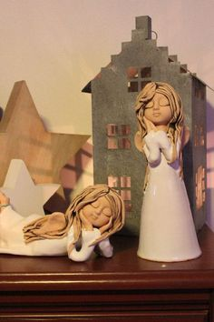 Andělky Ceramic Pottery, Ceramic Art, Clay Angel, Pottery Angels, Ceramic Angels, Hobbies And Interests, Clay Figures, Pretty Dolls, Bottle Art