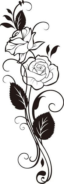 Illustration of three stylized pale roses isolated on light background, vector illustration vector art, clipart and stock vectors. Art Floral, Rose Tattoos, Body Art Tattoos, Pyrography Patterns, Wood Burning Art, Flower Coloring Pages, Stencil Designs, Flower Art, Embroidery Patterns