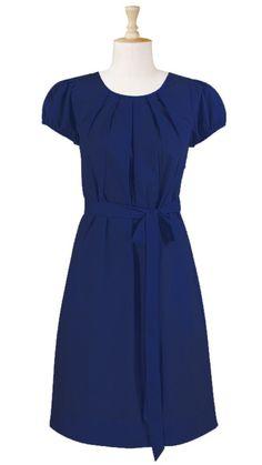 Pleat neck cotton poplin dress  STYLE # CL0021603  $52.95