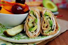 Turkey, Avocado & Hummus Wrap -- Corn tortilla instead of flour and cucumber instead of pickles
