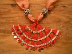 necklace, turkish needle lace, peach coral silk