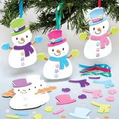 Baker Ross Ltd Snowman Mix & Match Decoration Kits for Children to Make Decorate and Hang on Xmas Tree (Pack of Christmas Crafts For Kids, Christmas Activities, Diy Christmas Ornaments, Xmas Crafts, Christmas Snowman, Diy And Crafts, Christmas Decorations, Bastelarbeit Winter, Theme Noel