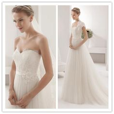 2015 Wedding Dresses Lace Hand Made Flowers A Line Sweetheart Wedding Dress Floor Length Bride Dress Sweep Train White Bridal, $157.07 | DHgate.com
