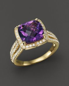 Diamond and Amethyst Cushion Statement Ring in 14K Yellow Gold, .60 ct. t.w.