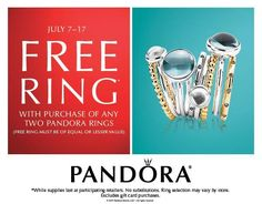 Receive a FREE ring with the purchase of any two #Pandora rings (Must be equal or lesser value) #jewellery #PearHome