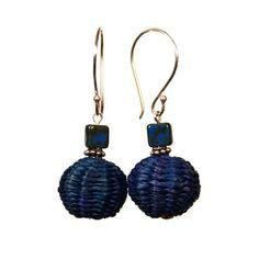 Blue Iraca Fiber Ball Earrings - Silver Randall V Designs, http://www.amazon.com/dp/B00ANFQZ9C/ref=cm_sw_r_pi_dp_DJRYqb1F160SG