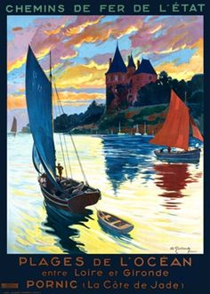 Vintage Railway Travel Poster - Plages de LOcean - France. 1910. French Poster features a boat with a blue sail towing a dingy with another sailboat and a castle in the background.