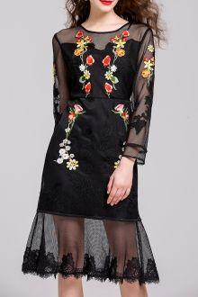 Embroidered Gauzy Trumpet Dress