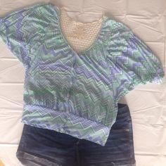 Top Mint green, blue chevron patterned top. Crochet back. Size medium Rue 21 Tops Blouses