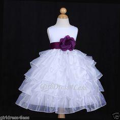 White Plum Dark Purple Organza Wedding Flower Girl Dress 12M 18M 24M 2 4 6 8 10 | eBay