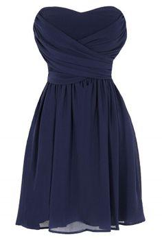 Dress To Impress Strapless Chiffon Dress in Navy  www.lilyboutique.com