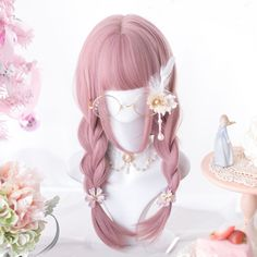 Kawaii Pink Lolita Straight with Bangs Wig – Kuru Store Lolita Cosplay, Kawaii Cosplay, Kawaii Hairstyles, Wig Hairstyles, 360 Lace Wig, Lace Wigs, Kawaii Wigs, Wavy Bangs, Lolita Hair