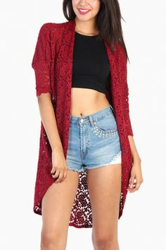 LoveMelrose.com From Harry & Molly | Open Front Floral Lace Cardigan - Burgundy