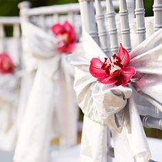 Fresh, tropical flowers are perfect additions to a beach wedding.