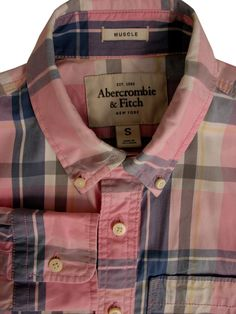 3e53feb2ac ABERCROMBIE & FITCH Shirt Mens 15 S Pink - Multi-Coloured Check MUSCLE - £